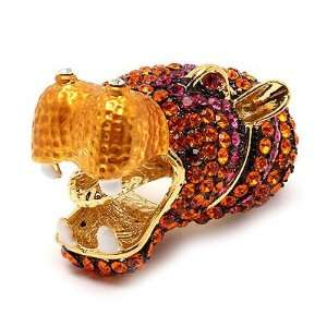 Hippopotamus Hippo Crystal Rhinestone Gold Orange Stretch