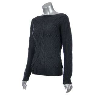 Sutton Studio Womens Merino Wool Boatneck Cable Sweater