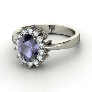 Diana Ring, Oval Iolite 14K White Gold Ring with Diamond