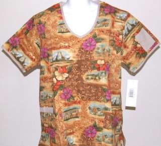ANIMAL SAFARI Missy Top L LARGE Nursing Nurse Scrubs