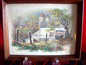 Vintage Farm Scene Old Canvas Top Buggy signed Brad