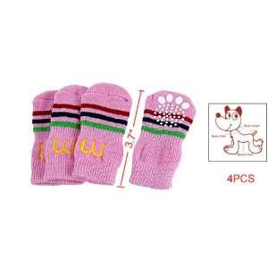 Como Striped Style Pink Knitted Dog Socks 4 Pieces: Pet Supplies