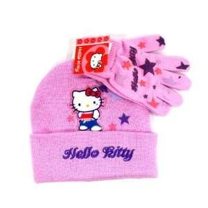Beanie Knit+glove Hello Kitty Set Hat Cap   Pink Star