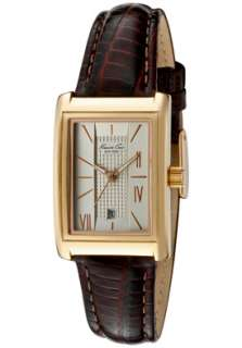 Kenneth Cole Watch KC2686 Womens Champagne Dial Dark Brown Leather