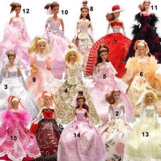 fashion handmade styles barbie wedding Dress Clothes for Barbie Doll