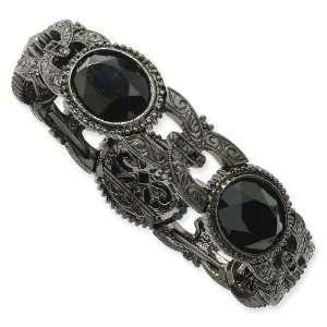 1928 Black plated Faceted Jet Bead Oval Stretch Bracelet