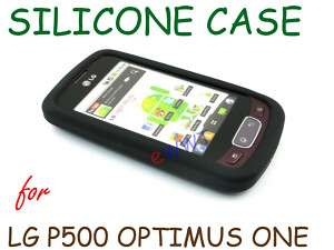 for LG P500 Optimus One *New Black Silicon Silicone Skin Cover Soft