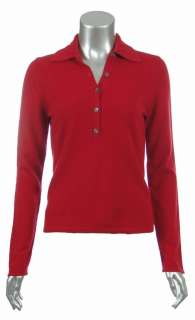 Sutton Studio Womens 100% Cashmere Polo long Sleeve Sweater   Plus