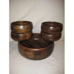 Vintage 5 Piece   Wooden Salad Bowl Set