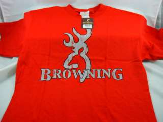 Browning SS Buckmark T shirt Authentic RED / GREY NWT