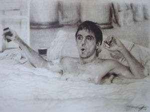 Scarface Al Pacino Sketch Portrait Pencil Drawing WU151