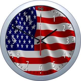 Funkuhr Wanduhr Waving Flag USA United States Flagge