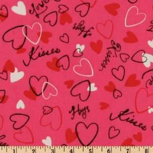 44 Wide Hugs & Kisses Hearts Hot Pink Fabric By The Yard