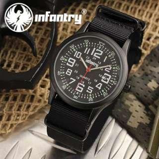 INFANTRY Date Army Military Black Sport Mens Wrist Watch Fabric Strap