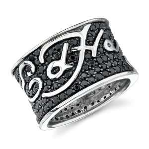 Ed Hardy Stainless Steel Black Cz Pave Logo Ring  size 8 Ed Hardy