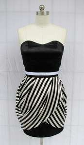 BL61 BLACK WHITE STRIPE STRAPLESS PARTY DRESS XXXL 3X