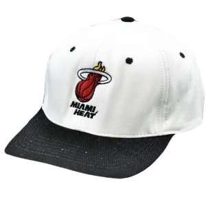NBA Adidas Miami Heat White Red Black Flat Bill Snapback