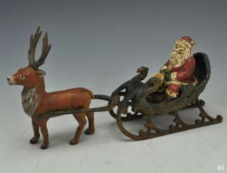 Antique Cast Iron Santa Clause & Reindeer Toy c. 1880 1925