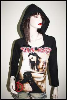 Marilyn Manson Metal Rock DIY 3/4 Slv Hoodie Top