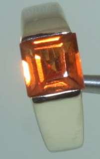 14k white gold square orange sapphire ring 3.2g vintage