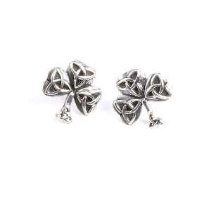 Shamrock Earrings Q3056  Sterling Silver Irish Celtic Trinity Knot and