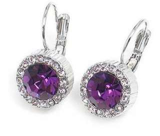 Brand Cute Purple Crystal Round Korean Fashion Earring e54