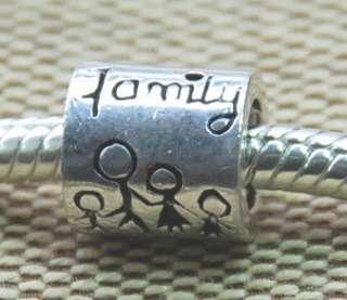 NEW 925 Sterling Silver Bead 4 European Charm Bracelet FAMILY THEME