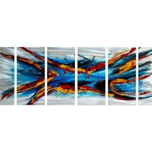 Abstract Metal Wall Art Extra Large Set of 6 Aluminum Panels: Home