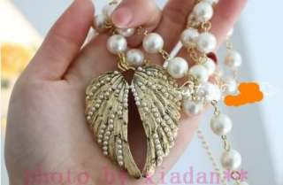 Vintage Style Pearl Chain Angel Wings Necklace 24 Gift#252