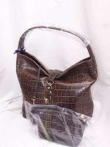 Dooney & Bourke TAUPE Croco Embossed Leather Logo Lock Hobo Handbag