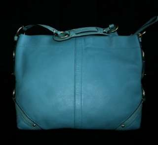 COACH LARGE SLIM SILHOUETTE CARLY TEAL BLUE LEATHER HOBO TOTE BAG