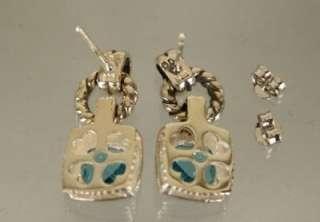 David Yurman 925 Sterling Silver Blue Topaz Earrings