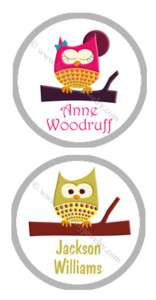 48 ROUND Owl LABELS Personalized Stationery Stickers