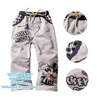 Boys Gray Mickey Mouse Pants 2 8 yrs