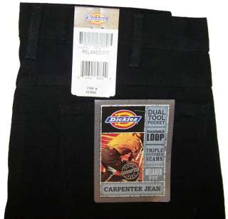 Dickies Mens Carpenter Jeans Relaxed Fit Black NWT Ö