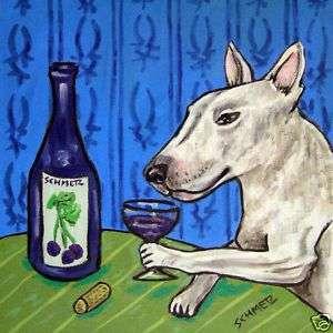Bull terrier wine dog animal picture coaster art tile