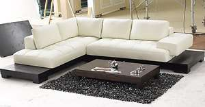 Shaped Cream Leather Sectional Sofa with Modern Wood Base Tosh