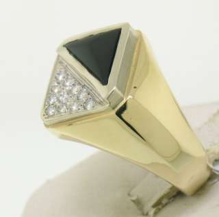 14k Solid Gold Diamond and Black Onyx Mens Ring