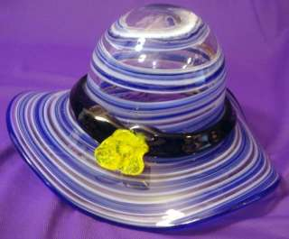 Art Glass Blue Swirl Ladies Hat / Bowl