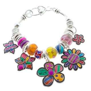 Colorful Flower Garden Heart Murano Glass European Charm Bead Silver