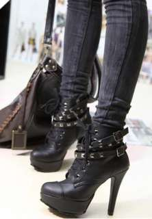 Womens Studded High Heels Platform Lace up Ankle Boots Shoes US 9/40