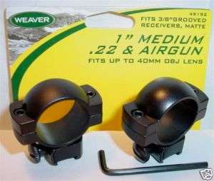 Weaver 1 Med 22 BB Gun Air Rifle Scope Mount Rings 92