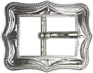 Western Equestrian Cowboy Rodeo Decor Cart Buckle Bright Silver Plated