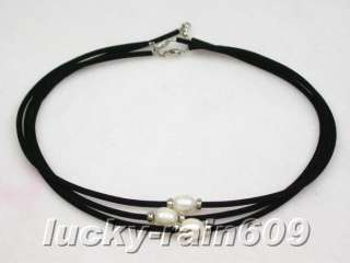 pieces 12mm white freshwater pearls leather necklaces