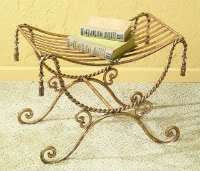 Antiqued Gold Tone Iron Swag & Tassel Vanity Bench Seat