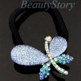 SHIPPING rhinestone crystal butterfly hair scrunchie ponytail