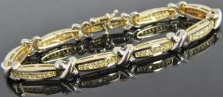 Two Tone 14K Yellow & White Gold .60 CT Diamond X Link Chain Bracelet