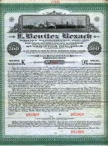 Puerto Rico F. Benitez Rexach $500 Pier 6 Bond   RARE