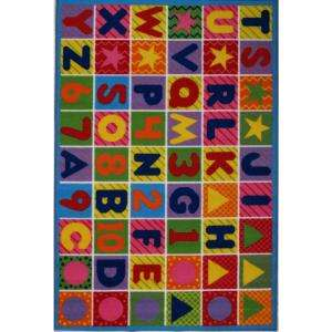LA Rug Inc. Fun Time Numbers & Letters Multi Colored 8 ft. x 11 ft