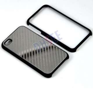 New Sliver Metal Carbon Fiber Pattern Full Body Back Case Cover For